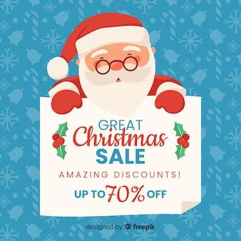 Weihnachtsverkaufshintergrund mit sankt