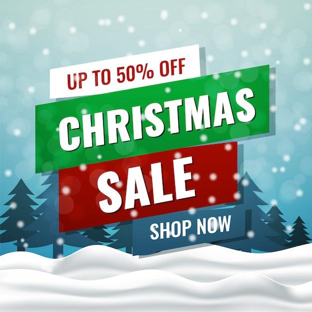 Weihnachtsverkaufskarte mit winterlandschaftshintergrund