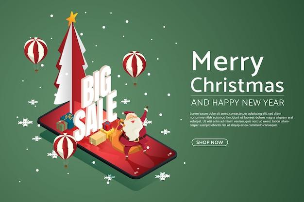 Weihnachtsverkaufskonzept auf smartphone weihnachtsmann mit weihnachtsbaum-geschenkbox