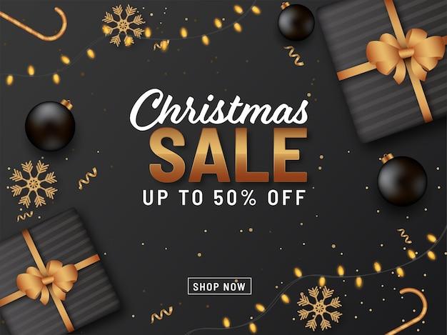 Weihnachtsverkaufskonzept mit geschenkboxen auf schwarzem hintergrund