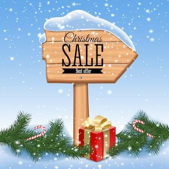 Weihnachtsverkaufsplakat. holzhintergrund mit feiertagsrahmen. retro. illustration.