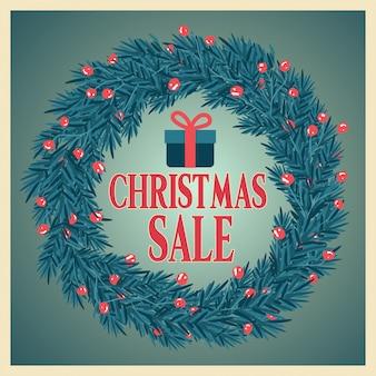 Weihnachtsverkaufsplakat mit kranz