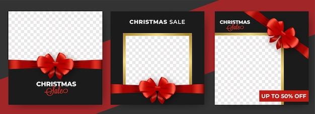 Weihnachtsverkaufsposten oder schablonendesign-satz geschlossen mit rotem bogenband und raum für produktbild