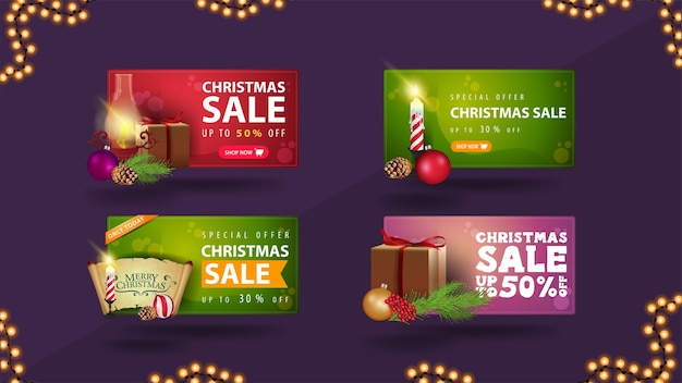 Weihnachtsverkaufssatz von rabattbannern mit weihnachtselementen