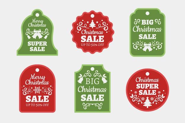 Weihnachtsverkaufstagsammlung im flachen design