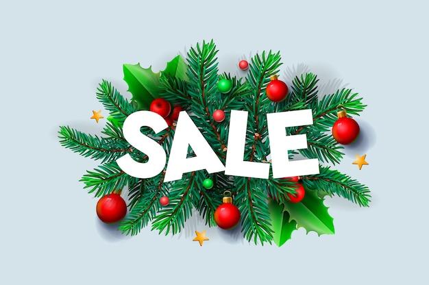Weihnachtsverkaufstext für werbung mit blättern und weihnachtsdekorationen im weißen hintergrund, realistisch