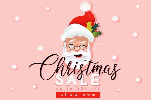 Weihnachtsverkaufswebsite-fahnenschablone mit weihnachtsmann