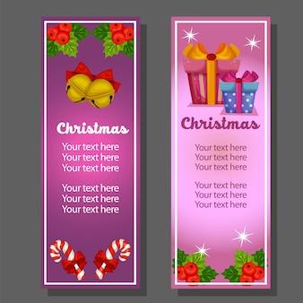 Weihnachtsvertikale Fahne mit der Geschenkbox aufwändig