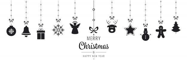 Weihnachtsverzierung elemente hängen schwarz isoliert hintergrund Premium Vektoren