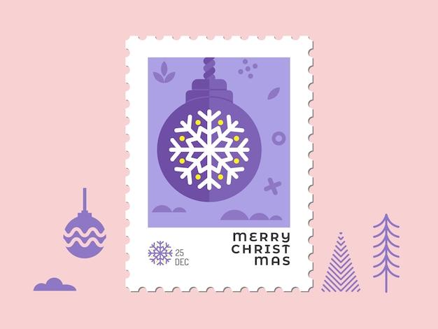 Weihnachtsverzierung und ball im violetten ton - flaches design des weihnachtsstempels für grußkarte und mehrzweck