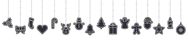 Weihnachtsverzierungsikonenelemente, die lokalisierten hintergrund hängen