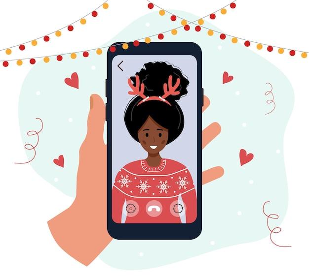 Weihnachtsvideoanruf. familie feiert feiertage auf video-chat.