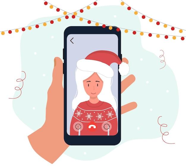Weihnachtsvideoanruf. mama gratuliert deinen kindern. neujahrs-online-party.