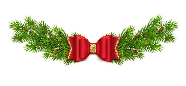 Weihnachtsvignette mit tannenzweigen und zapfen, rote schleife mit bändern und goldglitter. karamell-zuckerstange. neujahrsdekor für zu hause.