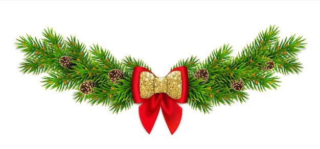 Weihnachtsvignette mit tannenzweigen und zapfen, rote schleife mit bändern und goldglitter. neujahrsdekor für zu hause.