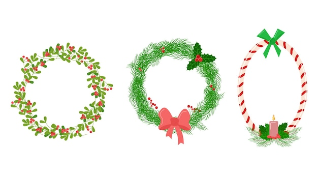 Weihnachtsvignette set blumenkreis und ovale dekorationen vektorsammlung