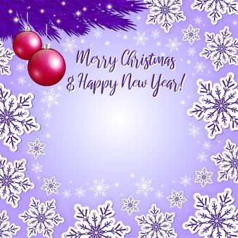 Weihnachtsvioletter hintergrund und weihnachtsdekorationen