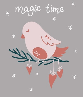 Weihnachtsvogel sitzt auf einem ast. magische zeit. vorlage der weihnachtskarte für weihnachtsdesign mit vogel und schriftzug. winterurlaub-symbol. vektor-hand zeichnen cartoon-illustration.
