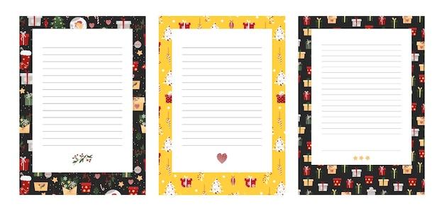 Weihnachtsvorlage für briefe und aufgabenliste. neujahrsgeschenkliste. leeres blatt des planers. verwirrtes blatt für weihnachtseinkäufe.