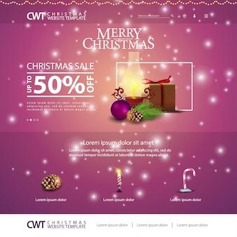 Weihnachtswebsiteschablone mit geschenken und alter laterne