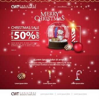 Weihnachtswebsiteschablone mit schneekugel und -kerze