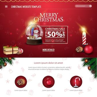 Weihnachtswebsiteschablone mit weihnachtsbuch, schneekugel und kerze