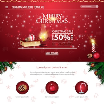 Weihnachtswebsiteschablone mit weihnachtsbuch und alter laterne