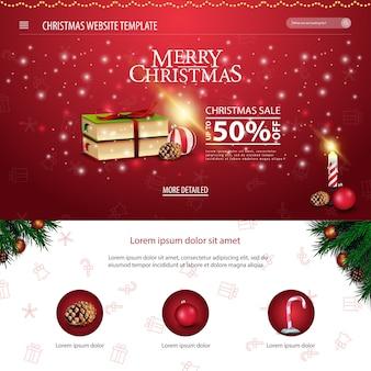 Weihnachtswebsiteschablone mit weihnachtsbuch und kerze