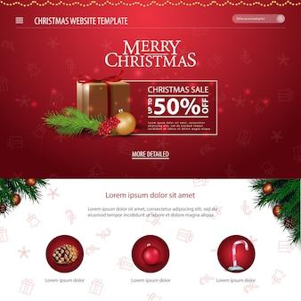 Weihnachtswebsiteschablone mit weihnachtsgeschenken