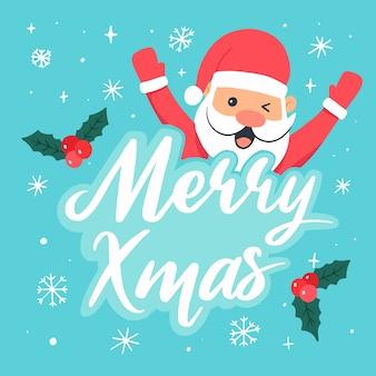 Weihnachtsweihnachtsmann-charakterillustration mit beschriftung