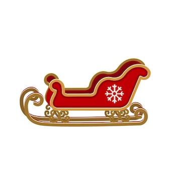 Weihnachtsweihnachtsmann-schlittenvektorillustration lokalisiert auf weißem hintergrund.