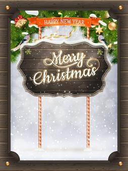 Weihnachtsweinlese-grußkarte.