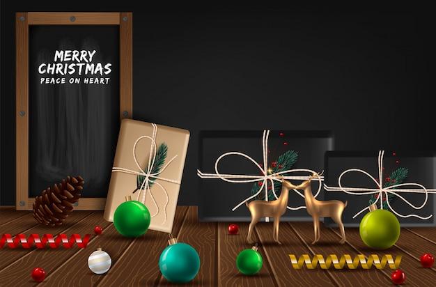 Weihnachtsweinlesekreidetextaufkleber auf einer tafel.