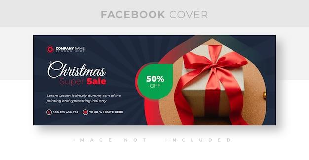 Weihnachtswerbung und rabatt-facebook-cover-design
