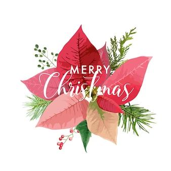 Weihnachtswinter-poinsettia-blumen-karte oder hintergrund mit platz für ihren text
