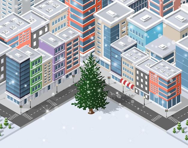 Weihnachtswinter-stadthintergrund