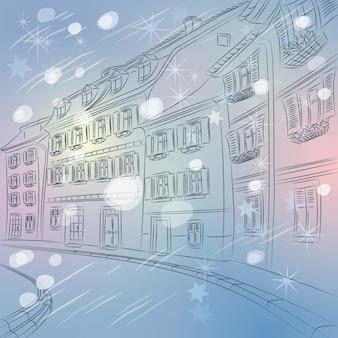 Weihnachtswinter stadtlandschaft mit einer alten europäischen straße mit bunten häusern