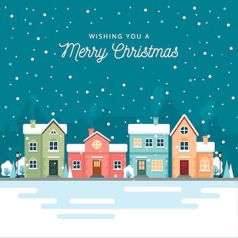 Weihnachtswinter-stadtstraße mit kleinen häusern und bäumen auf hintergrund.