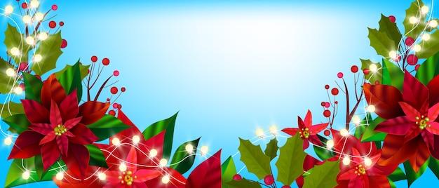 Weihnachtswinterblumenbanner mit weihnachtssternblättern, stechpalme, roten beeren. feiertagsweihnachtsillustration