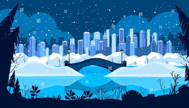 Weihnachtswinterferienstadtillustration mit new yorker wolkenkratzern, schnee, brücke, gefrorenem fluss