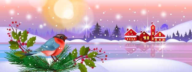 Weihnachtswinterlandschaft mit gimpel, schneeverwehungen, kleinen häusern, gefrorenem see, wintersonne