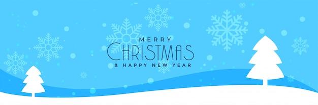 Weihnachtswinterlandschaftsfahne mit baumdesign