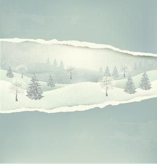 Weihnachtswinterlandschaftshintergrund mit zerrissenem papier