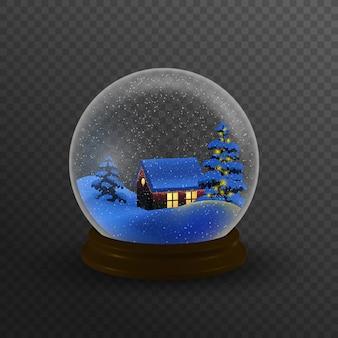 Weihnachtswinterlandschaftskugel mit schneehauswaldbergen und -sternen innerhalb lokalisiert.