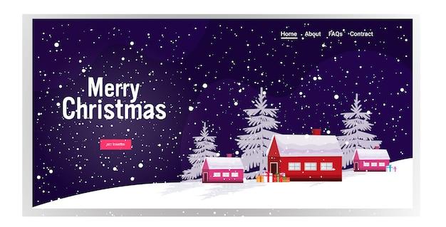 Weihnachtswinterlandschaftslandschaft mit häusern im kiefernwaldpostkarte frohe weihnachten frohe neue jahresferien