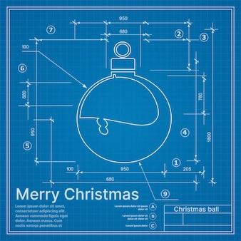 Weihnachtswinterprojekt-dekorationsball auf der blauen skizzenpostkarte des neuen jahres
