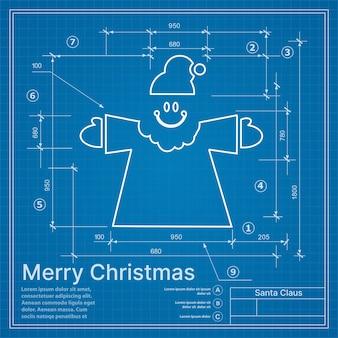 Weihnachtswinterprojekt weihnachtsmann auf neujahrsblaue skizzenpostkarte