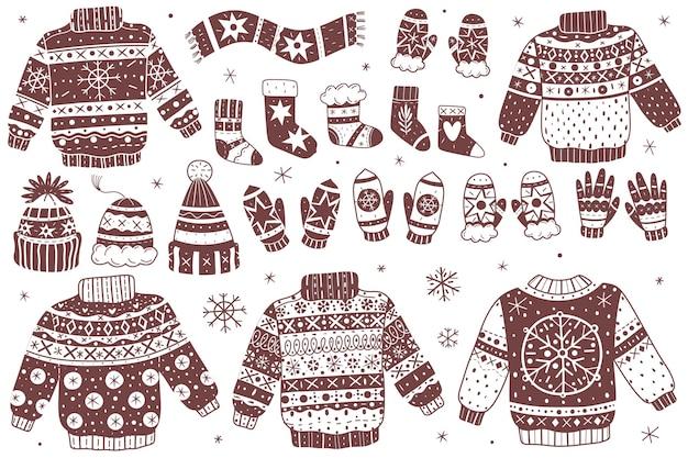 Weihnachtswinterpullover und gegenstandssammlung