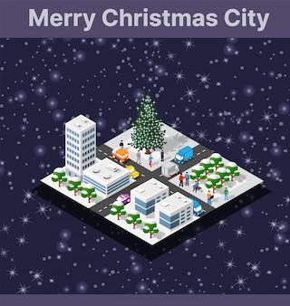 Weihnachtswinterstadt-grafikfeiertag