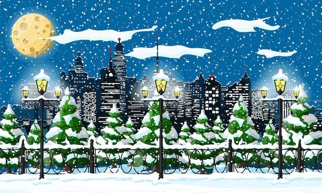 Weihnachtswinterstadtbild, schneeflocken und bäume